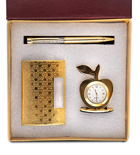 Celebr8 3 in 1 Golden Corporate Gift Set with Apple Clock,Crystal Pen,Business Card Holder (Premium Quality) (Golden)