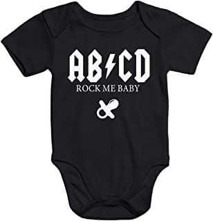 MoonWorks Kurzarm Baby Body ABCD Rock me Baby Hardrock Bio-Baumwolle