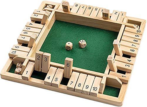 Kengsiren Shut The Box Family Game (1-4 Spieler), 4-Seitig Holz Anzahl Würfel-Brettspiel Mit 4 Würfelt Und Schließt Die Box Regeln Für Kinder Erwachsene, 12 Zoll