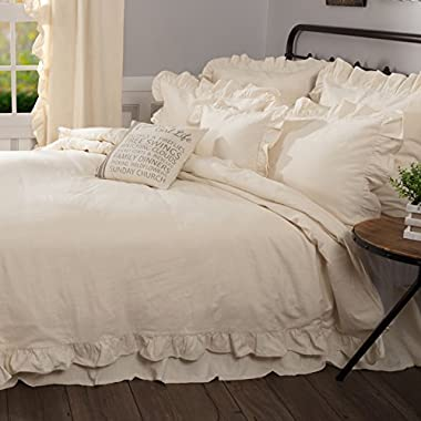 Piper Classics Ashley Natural Ruffled Duvet Cover, Queen Size 92x92, Farmhouse Style Beige Cream Comforter Cover