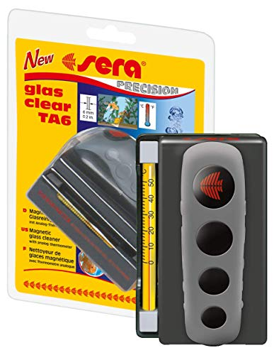 Sera glas clear TA6 ein Algenmagnet fürs Aquarium mit Thermometer als Scheibenreiniger bzw. Scheiben-Reinigungsmagnet