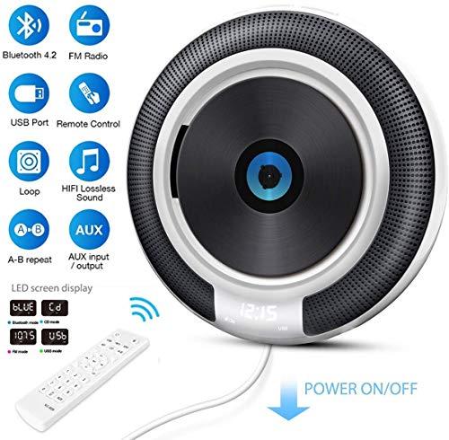 Tragbarer CD Player, VOKSUN wandmontierbar Bluetooth eingebaute Lautsprecher für Kinder, CD-Musik-Player Heim-Audio-Boombox mit Fernbedienung, FM-Radio/USB/MP3/AUX 3,5 mm Kopfhöreranschluss