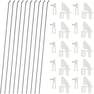 10 PCS 0.047x10.24 Steel Pushrods and 10 PCS Nylon 0.79x0.43 Lock on Control Horns 4 Holes for RC Airplane Model Aircraft ...