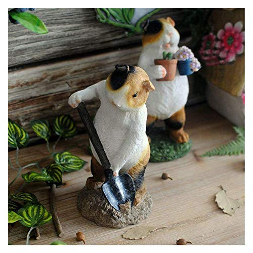 DWhui Garden Ornaments Cute Guinea Pig Gardener Waterproof Resin Garden Statue for Yard Lawn Decoration Gift (Color : B, Size : 9 * 8 * 19cm)