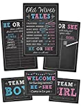 Katie Doodle Baby Gender Reveal Party Supplies Kit with Decorations Games Photo Props Centerpiece [7 Piece Set] Boy Girl | Includes 3 Game Posters (11x17), 1 Chalk Marker (Erasable), 3 Signs (8x10)