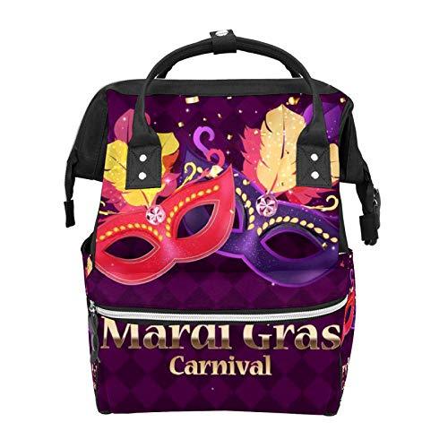 Bolsa de pañales Mardi Gras Carnaval Plumas Confeti Multifunción Viaje Mochila Mochila Bebé Cambiador de Gran Capacidad Impermeable Elegante