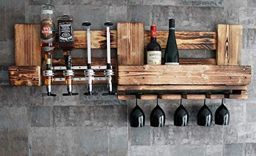 RUSTIKALE WANDBAR mit 4cl DOSIERSPENDER für Cocktails, Longdrinks,Vintage Wandregal Flaschenhalter groß aus Paletten Holz, Geschenk Vatertag Hausbar Landhausstil - 5