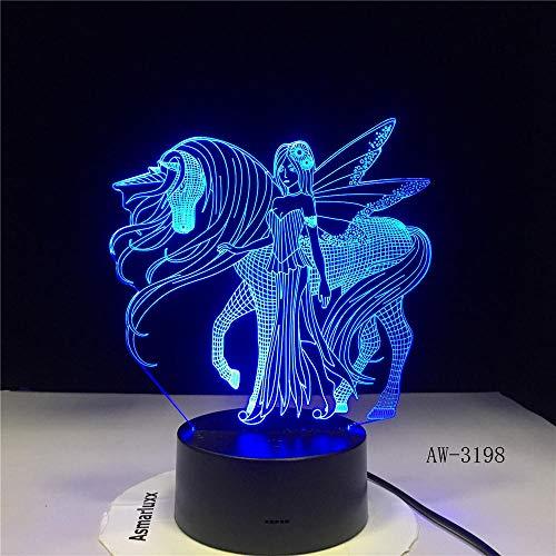 3D Nachtlicht 3D Led Nachtlicht Für Haben Flügel Einhorn Und Mädchen Mit 7 Farben Licht Für Hauptdekoration Pferd Lampe Visualisierung Geschenk Aw-3198-No_