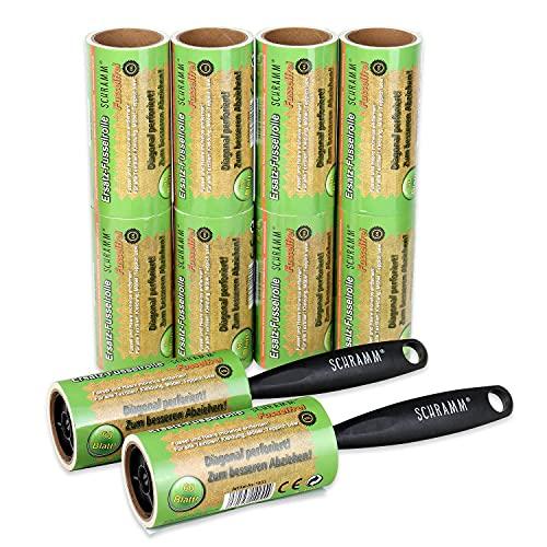 Schramm 10 Pieces of lint Roll 10 Rolls a 60 Sheets of lint Roll Black Plastic Dispenser Incl. lint Dirt Dirt Dust Roll Rolls Brush Brushes Brushes Pack of 10