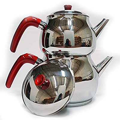 Lines Stainless Steel Tea Pot Set with Strainer, Family Set, 4 Pieces (Red Handle)