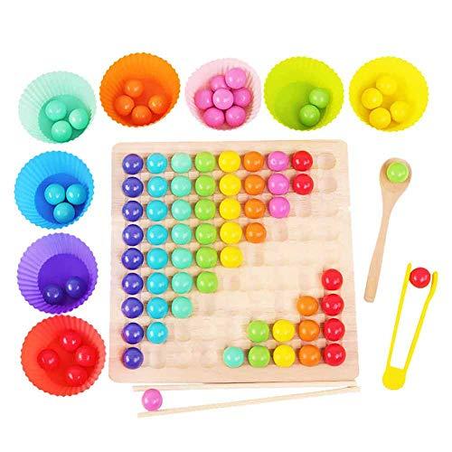 Rongchuang Brettspiel mit Regenbogen-Kugeln, Perlen mit Clip aus Holz, Regenbogen-Spielzeug mit 80 bunten Perlen, Holzspielzeug für Kinder