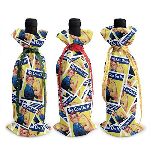 YANPING Rosie The Riveter Weihnachten Weinflasche Abdeckung dekorativ - 3 Stück Rotweinbeutel Geschenk für Party Hotel Küchentisch Dekor