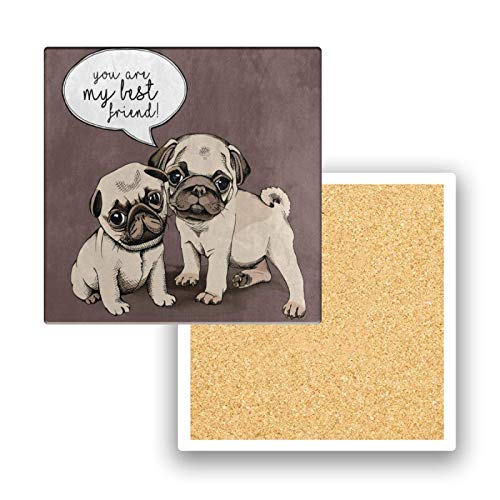 Coasters for Drinks Absorbent You're My Best Friend Quote Pug Puppy Dog Ceramic Coaster Set of 4 Cork Backing Wood Cup Bar Pot Personalized Mat Pad Bulk for Wooden Coffee Table Women Men Kids Square