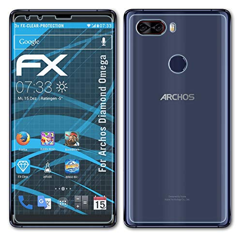 atFolix Schutzfolie kompatibel mit Archos Diamond Omega Folie, ultraklare FX Bildschirmschutzfolie (3er Set)