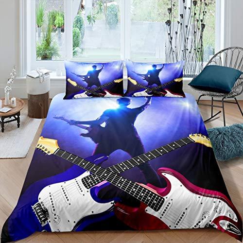 Juego de cama de guitarra, Teens Rock Music Tema, funda de edredón Hip Hop Grunge tamaño King para niños jóvenes adultos, colcha de guitarra eléctrica Hipster decoración de dormitorio