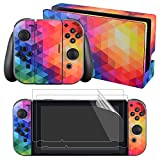 eXtremeRate Full Set Faceplate Skin Decal Stickers for Nintendo Switch with 2Pcs Screen Protector (Console &...