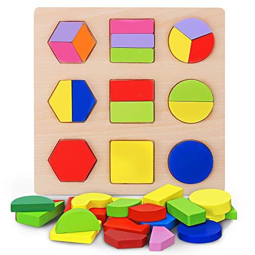 Juguete Educativo de Madera Juego Bloques de Forma Geométrica Niños Preescolar Aprendizaje Temprano Montessori Construcción Puzzle Tablero Wooden Shape Sorter (Type A)