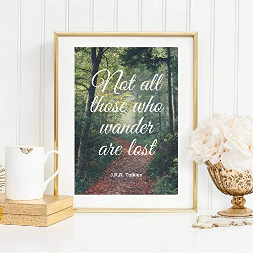 Kunstdruck ungerahmt Din A4 Spruch - Not all those who wander are lost - J.R.R. Tolkien - Typographie, Motivation Hoffnung, Druck, Bild, Poster, Geschenk