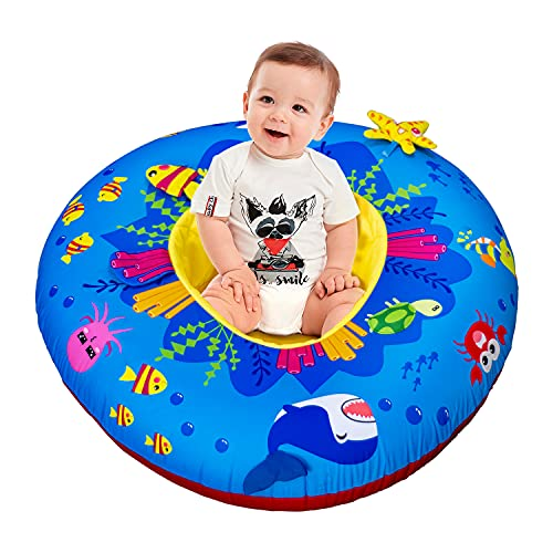 Baby Activity Center & Floor Seat, Inflatable Baby Nest with 8 Multi-Sensory Activities | Top Christmas Toys for Babies and Toddlers