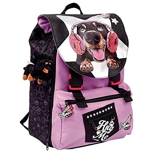 Scuola Mochila para cachorros Busca Amici By Trudi extensible violeta y peluche incluido + regalo 7 bolígrafos borrables + Bolígrafo luminoso LED y llavero Lentejuelas