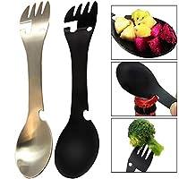 ✒Material: Spork Multi-Werkzeug aus Titan, robust und langlebig, es ist nicht leicht zu rosten. ✒Multi Tool: Das Gabelmesser in einem Gerät verfügt über eine eingebaute Gabel, eine Messerschneide, einen Löffel und einen Dosen- und Flaschenöffner, die...