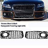 GSRECY - Parrilla para parachoques de luz antiniebla izquierda y derecha para S5 B8 Coupe A5 S-Line 2008-2012 RS5 estilo
