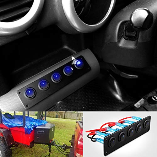 5 Gang 3 Pin Rocker Switch Panel Waterproof On-Off Toggle Switches with Pre-wired for Car Vehicle Trailer Truck SUV Marine Boat RV Ship