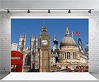 新しい7x5フィートロンドンビッグベンの写真の背景イギリスの都市の建築の背景ヴィンテージ大聖堂の愛好家大人の芸術的な肖像画イギリスの旅行写真撮影スタジオの小道具ビデオドレープの壁紙