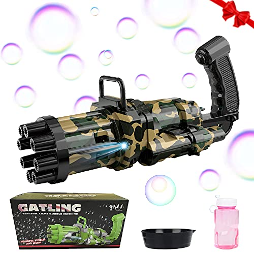 specool Bubble Machine Automatische, Gatling Bubble Machine Kids, 8 Loch Bubble Machine Gun mit Licht,Kids Bubble Gun Outdoor Spielzeug für Jungen Mädchen 2021 Verbesserte Version