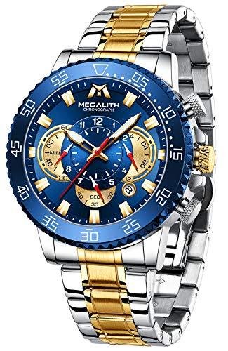 MEGALITH Reloj Hombre Dorados Cronografo Hombre Acero Inoxidable Relojes de Pulsera Esfera Azul Elegante Impermeable Analogico Luminoso
