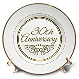 3dRose cp_154472_1 30th Gold Text for Celebrating Wedding Anniversaries 30 Years Married Together Porcelain...