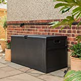 SA Products 460L Weatherproof Rattan Weave Effect Plastic Garden Storage Box XL Capacity - Suitable for Indoor & Outdoor Use - Ideal for Furniture Cushions, Parcels, Tools, Toys, Shed Overflow (Black)