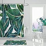 XCBN Pflanze Duschvorhang Blume grünes Blatt Blauer Hintergr& einfache Mädchen Zimmer Badezimmer Dekoration wasserdicht A3 90x180cm