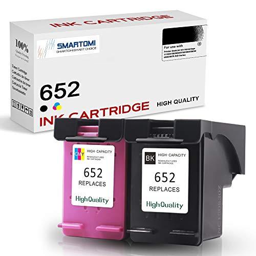 SMARTOMI 2er-Pack 652 Tintenpatronen remanufactured für HP 652 Tinte für die Nutzung mit Druckern aus der Serie HP DeskJet Ink Advantage 1115 2135 3635 3755 3835 3836 4535 4675 AIO Series