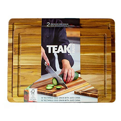TeakHaus by Proteak Carving Board with Juice Well Set of 2