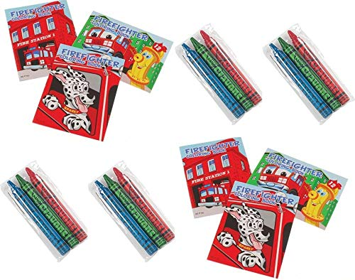 Happy Deals~ 24 Pc Fireman Party Favors Lot -Includes (12) Fire Fighter Mini Coloring Books and Crayons