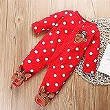 Newborn Baby Cotton Christmas Dameles Pijamas Manga Larga Elk Pringsting Red Mono Botón Botón Boy Girl PJS Outfit (Color : 3-6 Months)