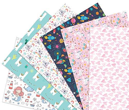 Friendly Fox Kinder Geschenkpapier - 6 Bögen Geschenkpapier für Mädchen - Motiv-Papier für Geschenke - Geschenkpapier Kinder Mädchen - Geschenkverpackung Kindergeburtstag