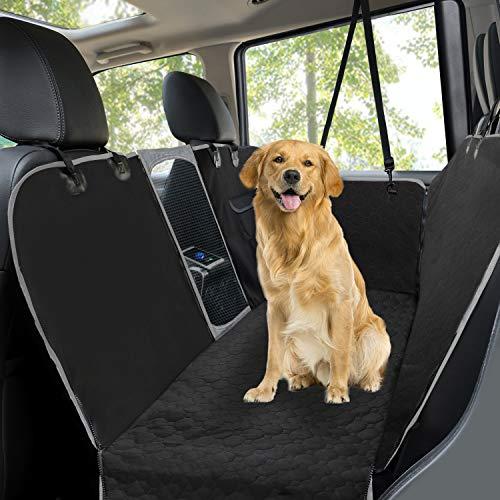 Hundedecke für Auto Rückbank, Universal Autoschondecken für Hunde Komplettschutz Comfort Autoschondecke für Hunde Seitenschutz rutschfest wasserdicht waschbar ideale Autodecke für Haustiere, Schwarz