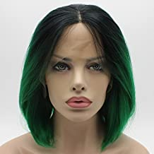 Lushy Straight Short Silky Dark Root Green Ombre Wig Heat Rsistant Heavy Density Synthetic Lace Front Wig