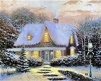ダイヤモンド塗装 風景の新しい雪景色DIYクリスタルフルドリルスクエア5Dダイヤモンド絵画クロスステッチキットモザイクラウンドラインストーン (Color : Snow 25, Size : 40 50cm Pebble round)