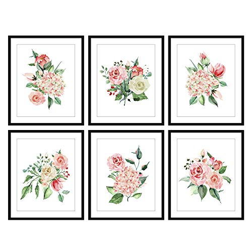 Bestbuddy Pet Set of 6 (8X10) Unframed Pink Flower Watercolor Prints Set Pink Floral Wall Art Prints N019