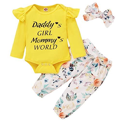 Geagodelia Babykleidung Set Baby Mädchen Kleidung Outfit Langarm Body Strampler + Hose + Stirnband/Mütze Neugeborene Weiche Babyset T-19829 (Daddy's Girl - Gelb, 3-6 Monate)