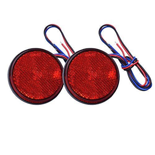 HEHEMM Rrücklicht Anhänger, Led Frontblitzer 2 Stück LED Rund Reflektor Bremsstopp Marker Licht Blinker Rückleuchten für Truck Trailer Auto Motorrad (Rot)