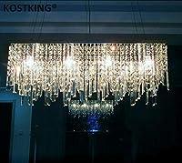 MYERZI 廊下照明 豪華 現代中国のシンプルなファッションクリエイティブな長方形のK9クリスタルLEDシャンデリアバーレストラン照明シーリングランプLEDフィクスチャ (Size : L100 X W30CM)