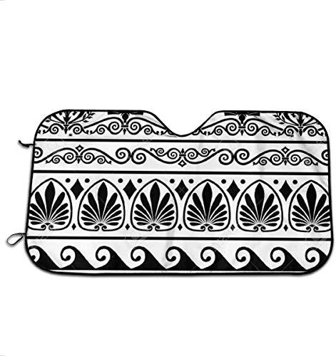 retrò Motivo Greco Sfondo Parabrezza Parasole per Auto SUV Camion Minivan Parasole Automobilistico Mantiene Il Tuo Veicolo Fresco Scudo Termico 51×27.5 Pollici