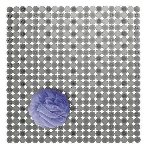 mDesign Alfombra de ducha de plástico PVC – Alfombra antideslizante rectangular para el baño con ventosas – Moderna alfombra de baño para ducha y bañera – gris grafito