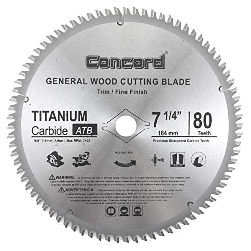 Concord Blades WCB0725T080HP 7-1/4' 80 Teeth TCT General Purpose Hard & Soft Wood Saw Blade