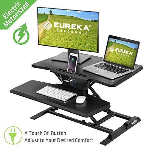 Eureka Ergonomic Electric Sit Stand Desk Converter Height Adjustable Standing Desk with Power USB Hub | Easy-to-use Dual Monitors Desk Riser 32', Black