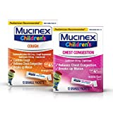 Mucinex Children's Mini Melts Chest Congestion Expectorant Bubble Gum 12 Ct & Cough Suppressant Orange Creme 12 Ct Packets, 1 Ea (Packaging May Vary)
